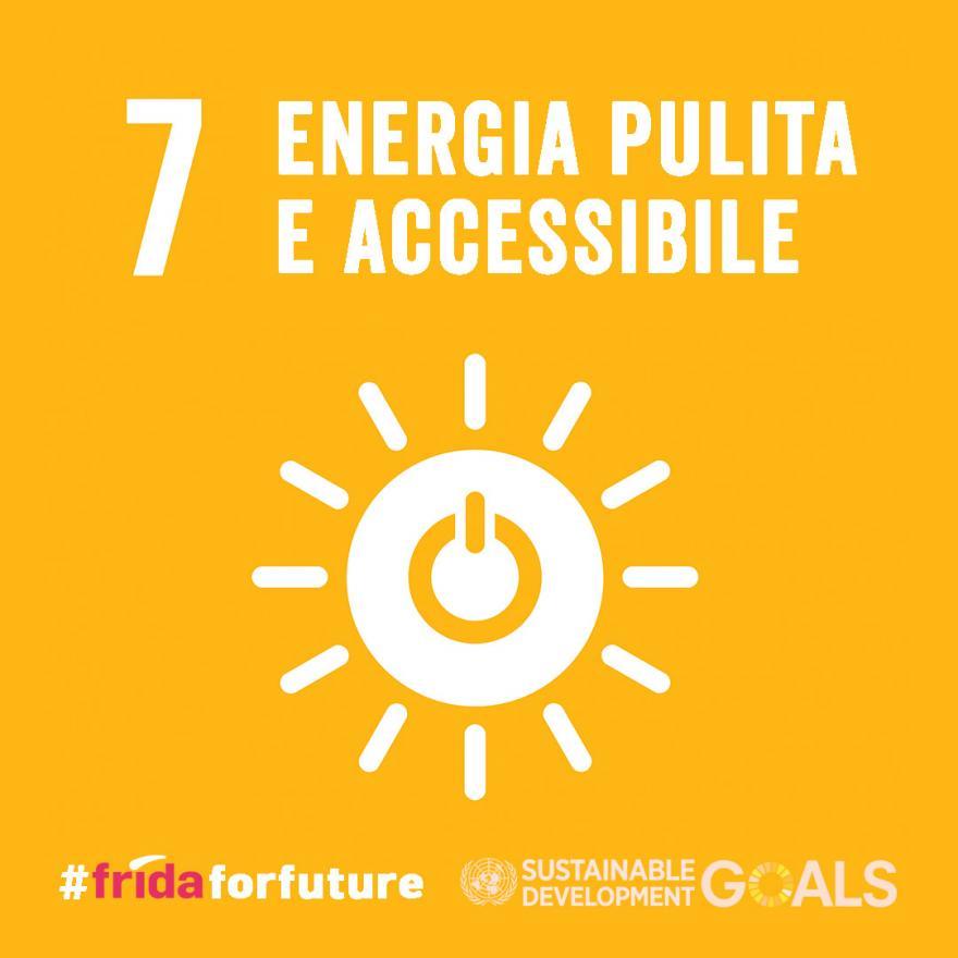 """""""Energia pulita e accessibile"""" su sfondo giallo"""