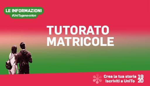 Grafica della campagna immatricolazioni 19-20 con scritta TUTORATO MATRICOLE