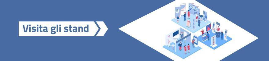 Scritta Visita gli stand su sfondo blu con a destra un rombo al cui interno è presente un'immagine stilizzata di uno stand