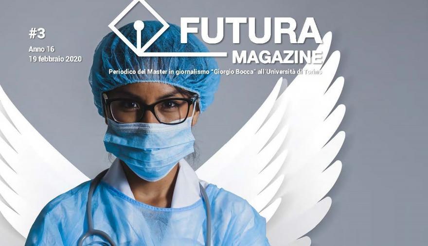 Copertina del terzo numero di Futura: donna medico con ali da angelo disegnate dietro la schiena