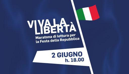 Scritta VIVA LA LIBERTA' su sfondo azzurro e bandiera italiana
