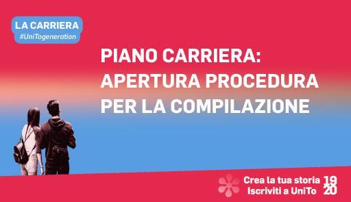 Grafica della campagna immatricolazioni 19-20 con scritta AGGIORNAMENTI CARRIERA