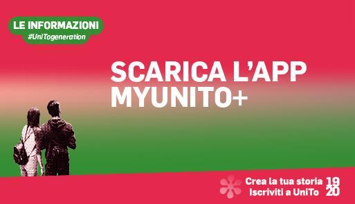 Grafica della campagna immatricolazioni 2019-2020 con scritta SCARICA APP MYUNITO+