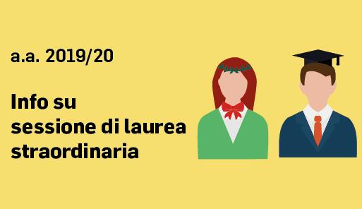 Icone di due laureati con scritta SESSIONE DI LAUREA STRAORDINARIA