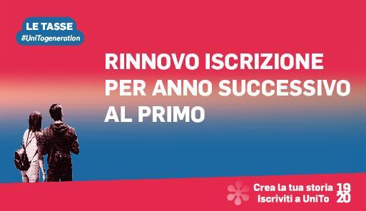 Grafica della campagna immatricolazioni 19-20 con scritta RINNOVO ISCRIZIONI ANNI SUCCESSIVI AL PRIMO