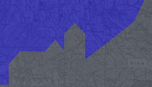 Profilo di un paese grigio su sfondo blu