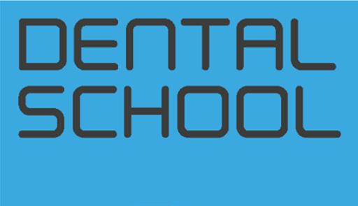 Scritta Dental School su sfondo colorato