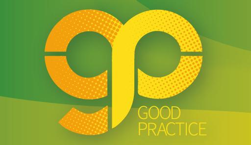 Una G e una P in grafica verde