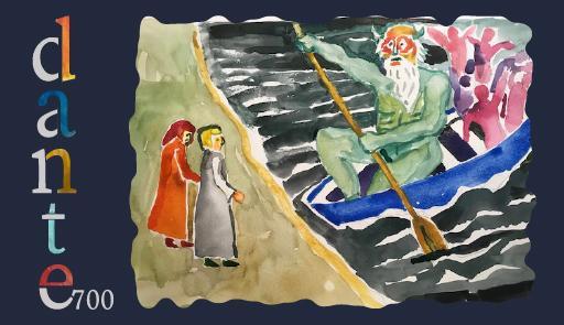 immagine stilizzata di due figure, Dante e Virgilio di fronte alla barca di Caronte