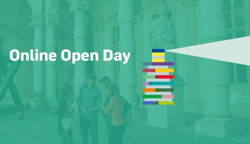 """grafica orientamento 2020-21 (v2), sfondo colorato con faro, scritta """"Online Open Day: Study in English at UniTo"""""""