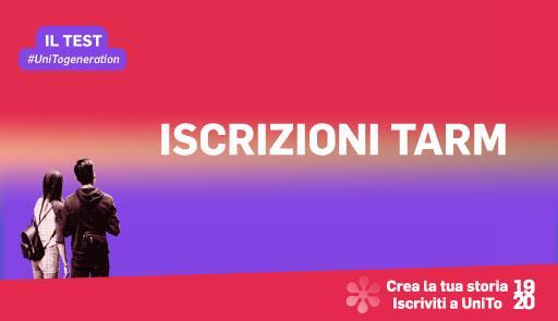 Grafica della campagna immatricolazioni 19-20 con scritta ISCRIZIONI TARM