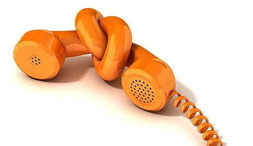 cornetta telefonica con nodo