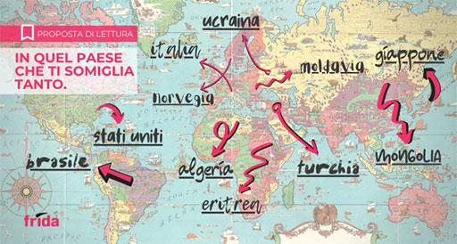 cartina geografica del mondo, sottolineati i nomi di alcuni paesi