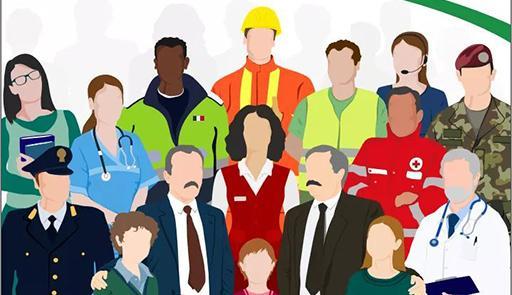profili fumetto di Falcone e Borsellino, circondati da lavoratori (medici, infermieri, lavoratori, operatori della croce rossa)