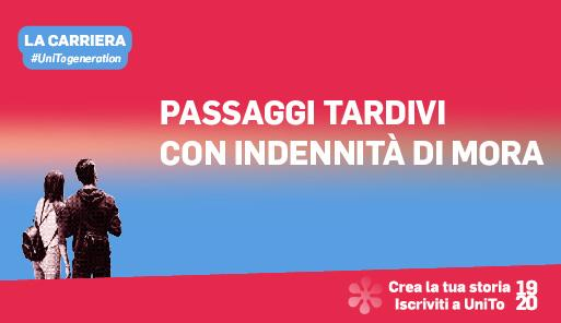 Grafica della campagna immatricolazioni 19-20 con scritta PASSAGGI TARDIVI CON INDENNITA DI MORA