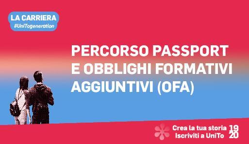 Grafica della campagna immatricolazioni 19-20 con scritta PERCORSO PASSPORT E OFA