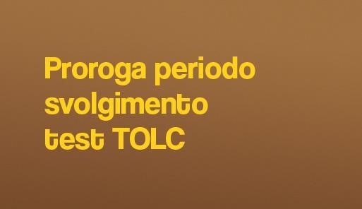 sfondo colorato con frase: proroga svolgimento test TOLC