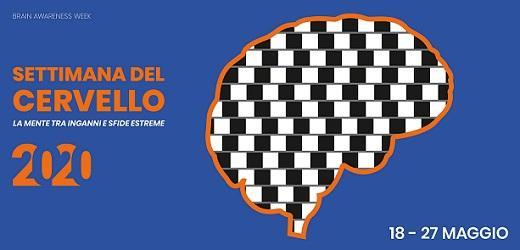 Logo della Settimana del Cervello 2020: la sagoma di un cervello con un'illusione ottica bianca e nera al suo interno
