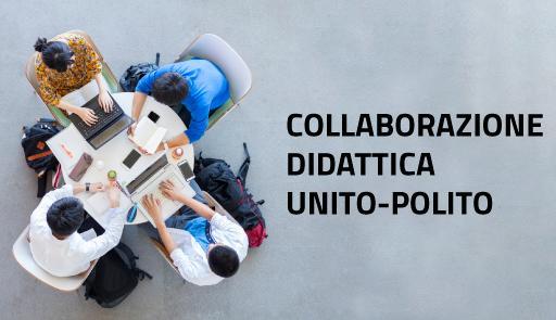 """studenti riuniti intorno ad un tavolo sul quale ci sono dei tablet, frase """"unito polito collaborazione didattica"""""""