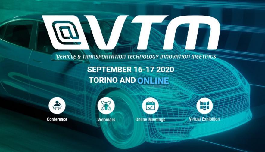 La sagoma di un'auto futuristica e il logo VTM