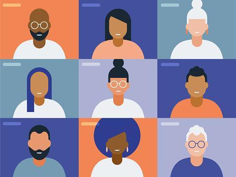 Volti stilizzati di persone in videoconferenza