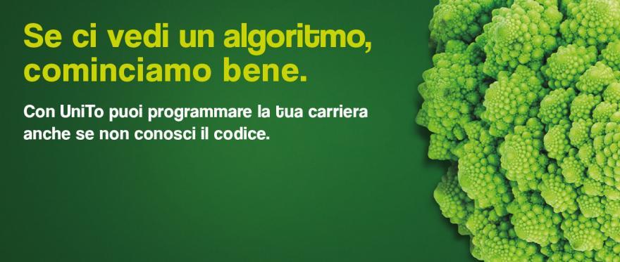 """Immagine di un broccolo romano con scritta: """"Se ci vedi un algoritmo, cominciamo bene. Immatricolazioni 2020-2021"""""""