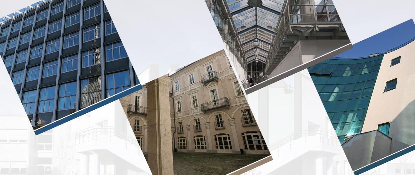 Collage di foto di alcune sedi dell'Università di Torino