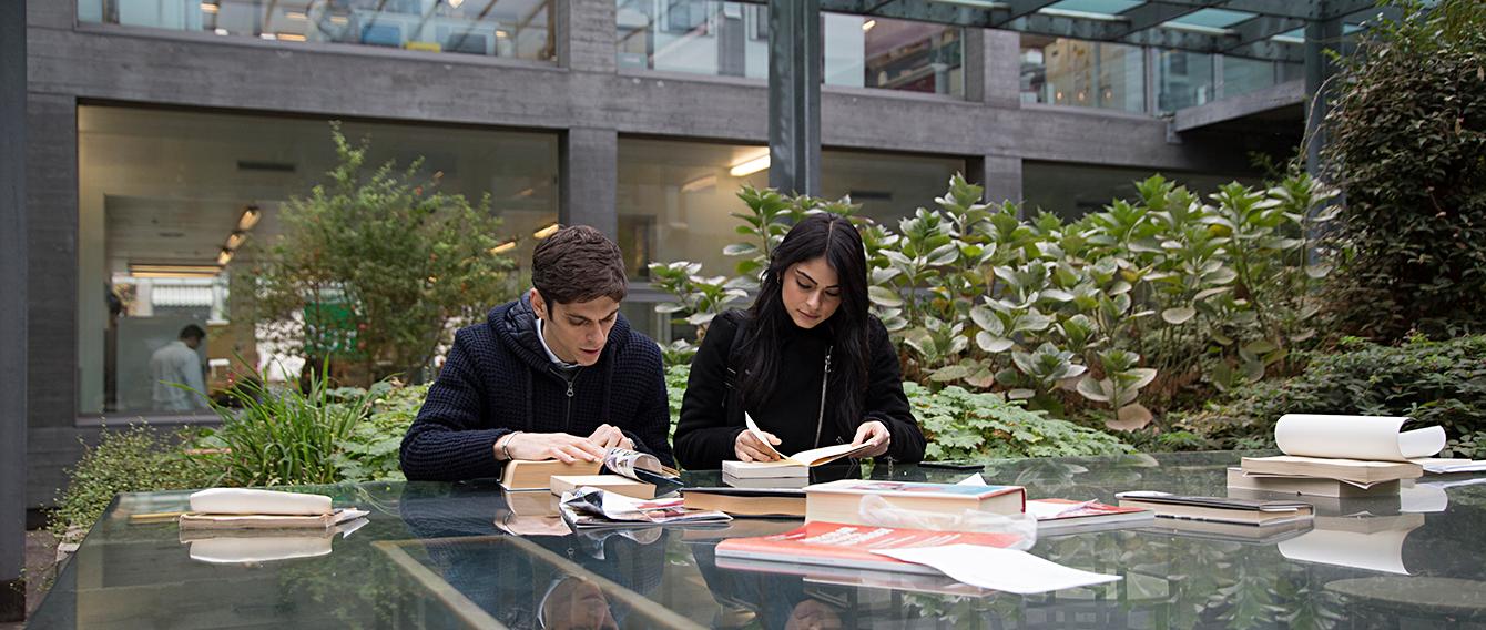 Studenti che consultano libri alla scrivania