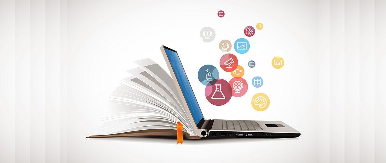 Immagine grafica composta dalle pagine di un libro e dal computer