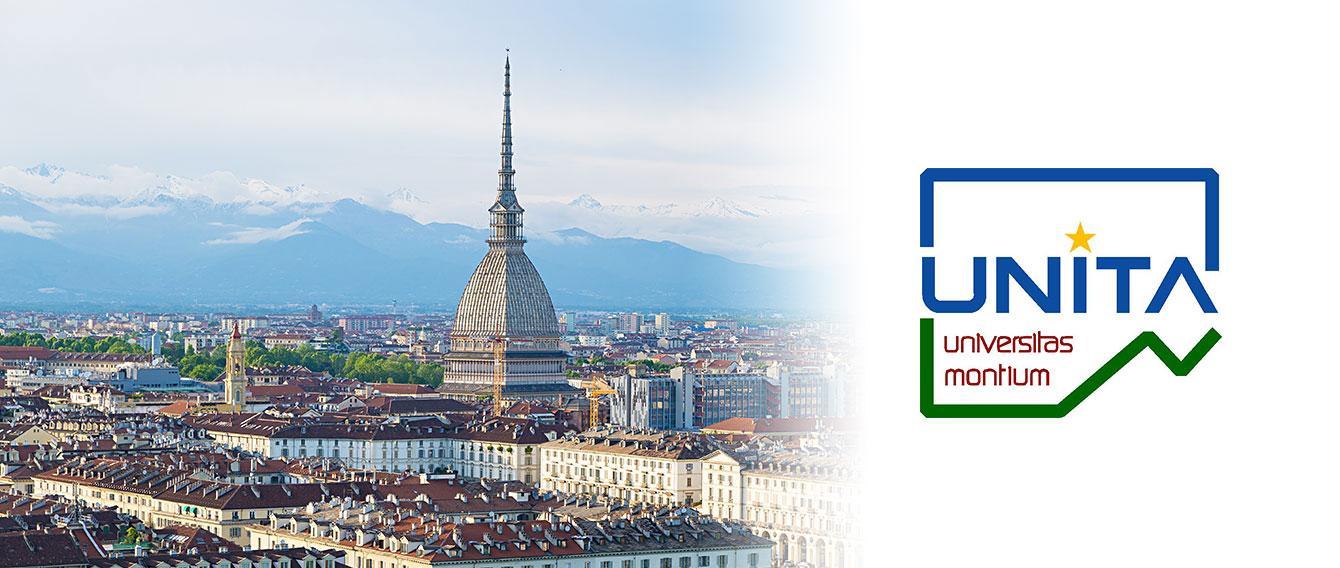 Veduta aerea di Torino con logo del consorzio UNITA