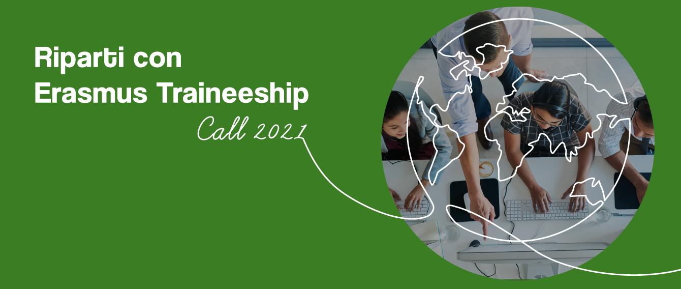 """Immagine di ragazzi vista dall'alto in un riquadro e testo """"Riparti con Erasmus Traineeship Call 2021"""""""