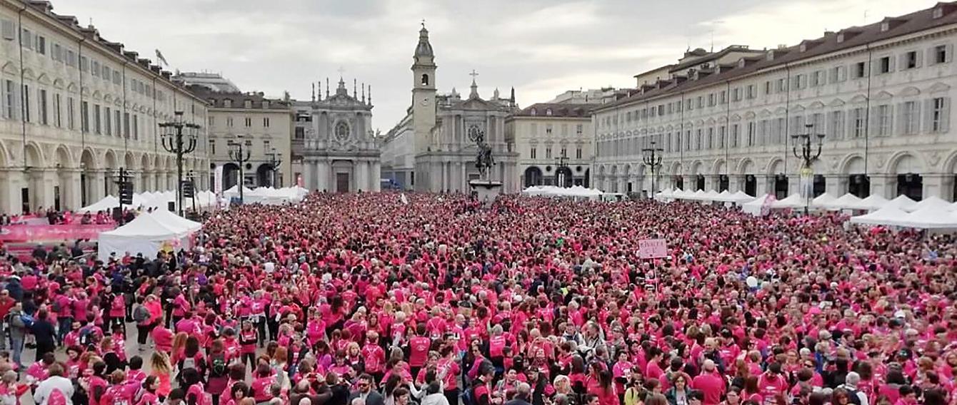 Piazza San Carlo a Torino occupata da tutti i partecipanti alla corsa del 2019