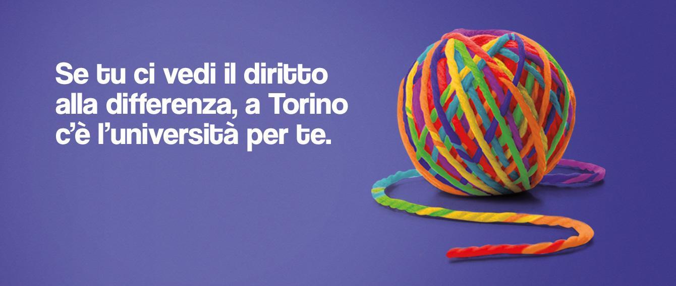 Un gomitolo color arcobaleno con scritta SE TU CI VEDI IL DIRITTO ALLA DIFFERENZA, A TORINO C'è L'UNIVERSITà PER TE