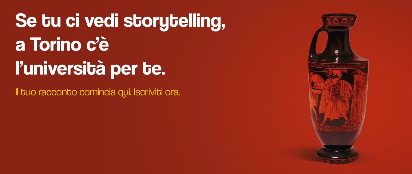 """grafica immatricolazioni 21-22 - Vaso con scritta """"Se tu ci vedi storytelling, a Torino c'è l'Università per te"""""""