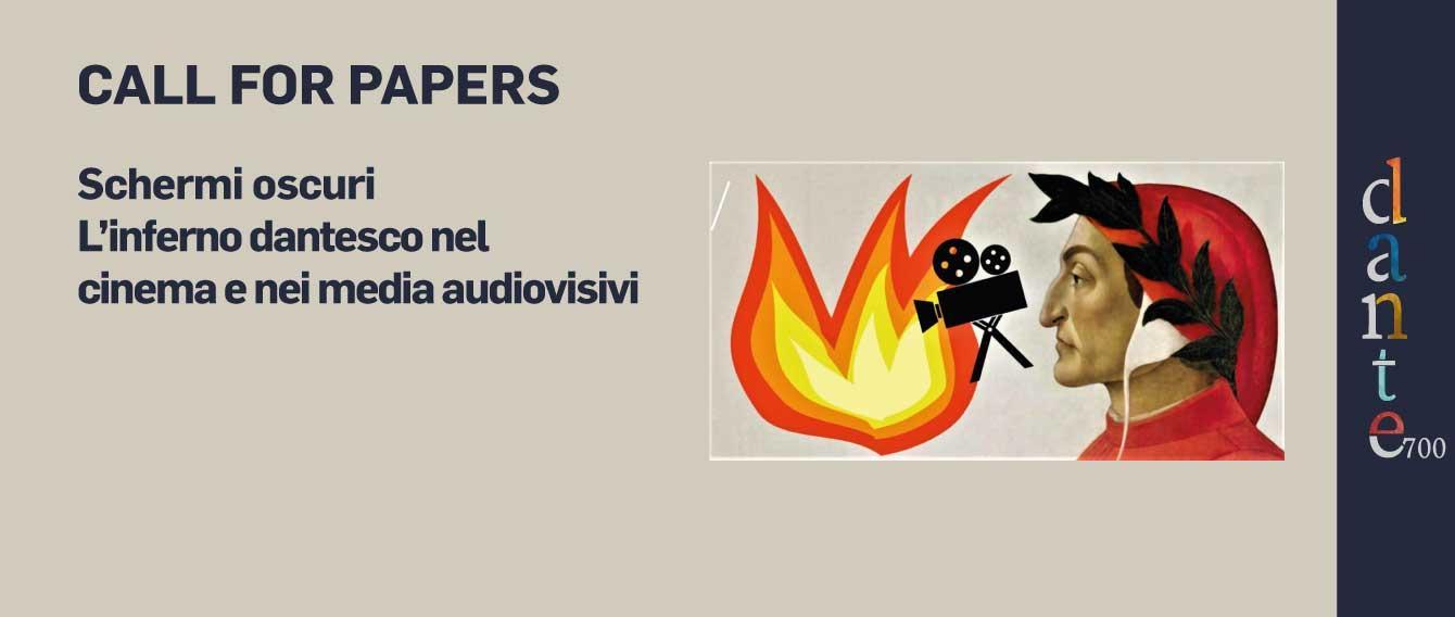 profilo di Dante Alighieri, una telecamera e un falò,  titolo della call for papers