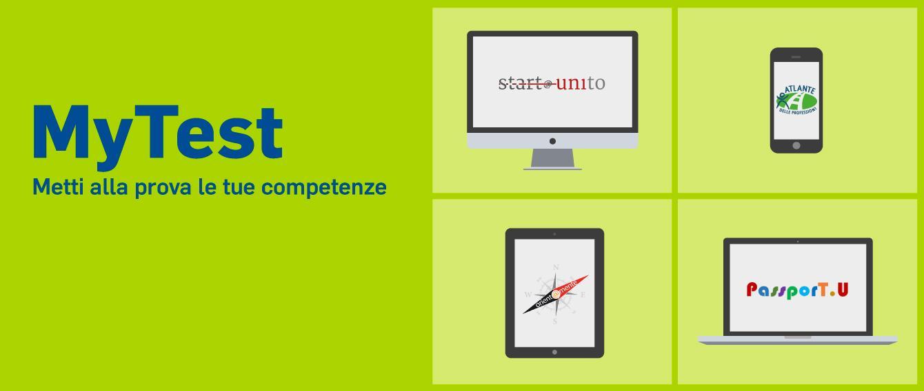 """a destra: frase """"MyTest, metti alla prova le tue competenze"""" - A sinistra: immagine stilizzata di un monitor di pc,  uno smartphone, un tablet e un pc portatile"""
