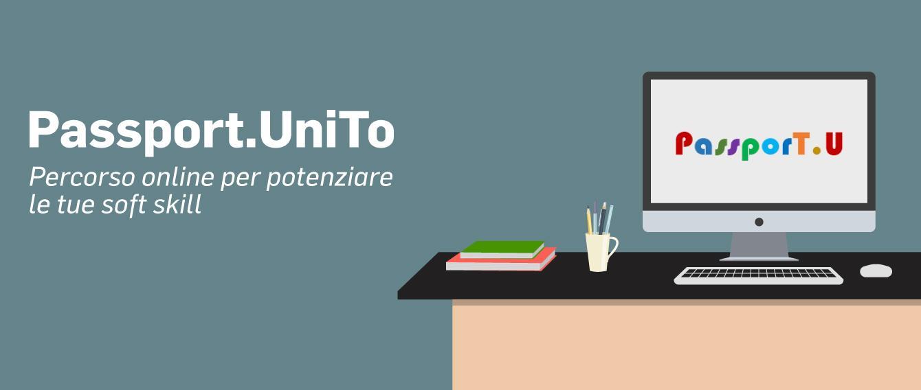 """immagine stilizzata di una scrivania, sopra un pc e sullo schermo la scritta """"Passport.U"""""""