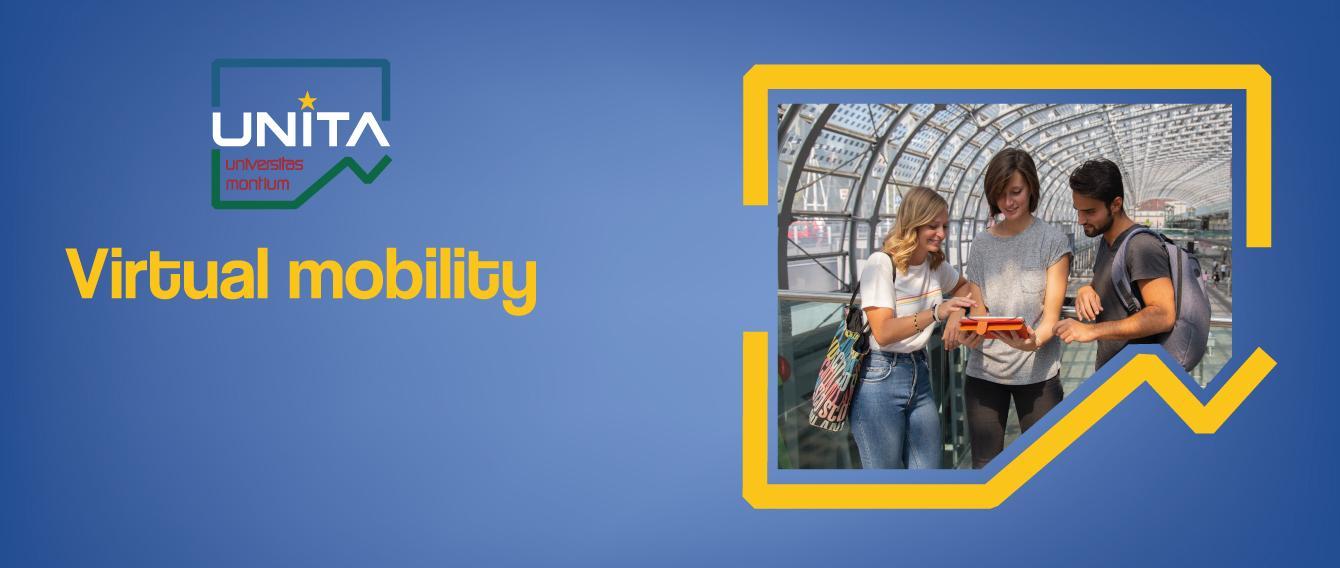 Tre ragazzi, sullo sfondo Porta Susa, la scritta Virtual Mobility, il logo UNITA